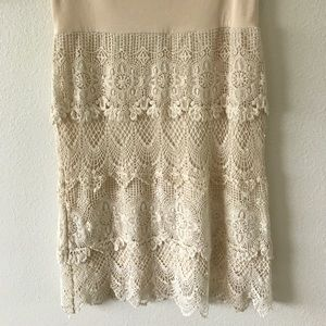 Crocheted Fitted Skirt in Cream